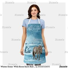 Western Kitchen Decor, Rodeo Cowgirl, Peace On Earth, Summer Bbq, Winter Scenes, Artwork Design, Apron, Cool Designs, Horses