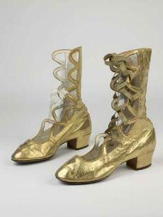 Gold kid leather heeled open boots worn by Anna Pavlova in 'Gavotte Pavlova', 1913.