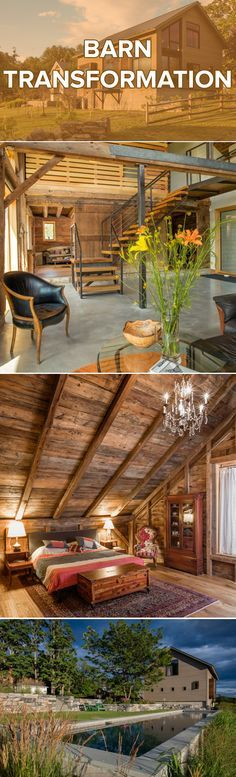 Design ideas to transform a barn into the home or event space of your dreams. Hack: use steel wool dissolved in vinegar to weather dark wood to give an aged look.