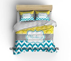 Chevron and Damask Yellow and Turquoise Bedding by PAMPERYOURSTYLE