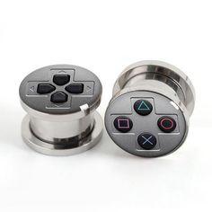 1 Par de Consola de Juegos plug medidores screw fit ear plugs túnel carne joyería del cuerpo de acero inoxidable SPP018