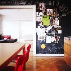 This would be a combination of chalk board AND magnetic paint. The ultimate bulletin board.