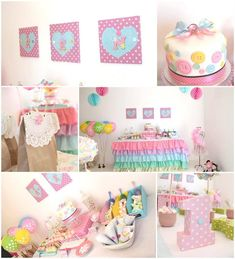Pastel Cute As A Button Party Planning Ideas Supplies Idea Cake Decor  REALLY LIKE THIS ONE