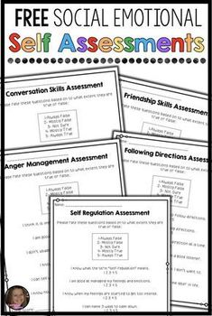 Social Emotional Self Assessments (FREE!) Social Emotional Self Assessments (FREE!),Counselor Corner These FREE social emotional self assessments will help you collect data for your school counseling program or small groups. This resource includes Social Skills Lessons, Teaching Social Skills, Coping Skills, Life Skills, Teaching Art, Art Lessons, Guidance Lessons, Social Emotional Activities, Counseling Activities