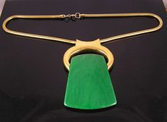 Lanvin Green Lucite Pendant Vintage 1970's Necklace