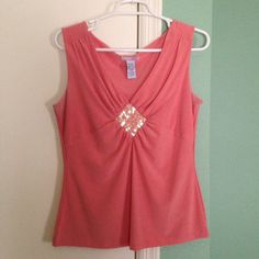 Lovely coral colored shell Beautiful shell with iridescent sequins. Wear with a jacket or without. Tops Camisoles