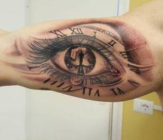 Eyes time, tattoo by Antonio Orlando, Taurisano- Lecce Italy Lion Tattoo Sleeves, Forearm Sleeve Tattoos, Forearm Tattoo Design, Dad Tattoos, Tattoos For Guys, Unique Tattoos, Cool Tattoos, Skin Tear Tattoo, Ojo Tattoo