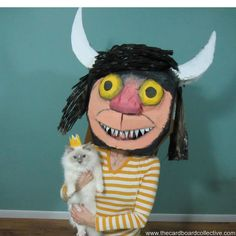 Costumes from cardboard! Where the wild things are cardboard mask by Tara Middleton Homemade Halloween, Cool Halloween Costumes, Diy Costumes, Halloween Make Up, Halloween Decorations, Cardboard Costume, Cardboard Mask, Projects For Kids, Art Projects