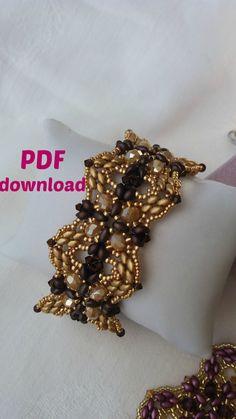 PDF tutorial, PDF bracelet, superduo bracelet, es-o bracelet, purple bracelet…