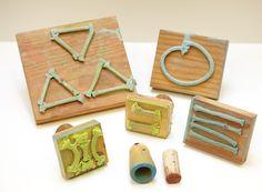 for making batik stamps: wood blocks, cotton rope, wood glue - See more at: http://www.createmixedmedia.com/make/surface-design-and-encaustic#sthash.yxADErS4.dpuf