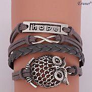 Eruner®Leather Bracelet Multilayer Alloy Hope O... – USD $ 2.99