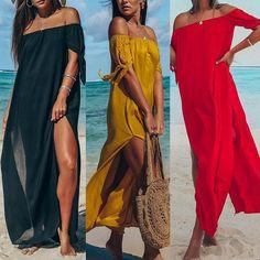 Slash Neck Off Shoulder Split Long Beach Dress Hot Outfits, Fashion Outfits, Beach Wedding Hair, Beach Hair, Beachwear For Women, Holiday Dresses, 15 Dresses, Creations, Long Beach