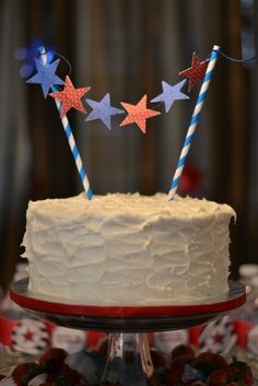 4th of July Party Birthday Party Ideas   Star Cake Bunting