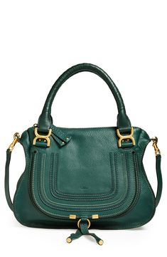Hooked on this green Chloé 'Medium Marcie' leather satchel.
