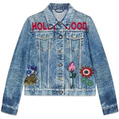 Gucci Embroidered Stained Denim Jacket ($2,630) ❤ liked on Polyvore featuring outerwear, jackets, denim, leather & casual jackets, ready-to-wear, women, genuine leather jackets, flower jacket, flower leather jacket and jean jacket