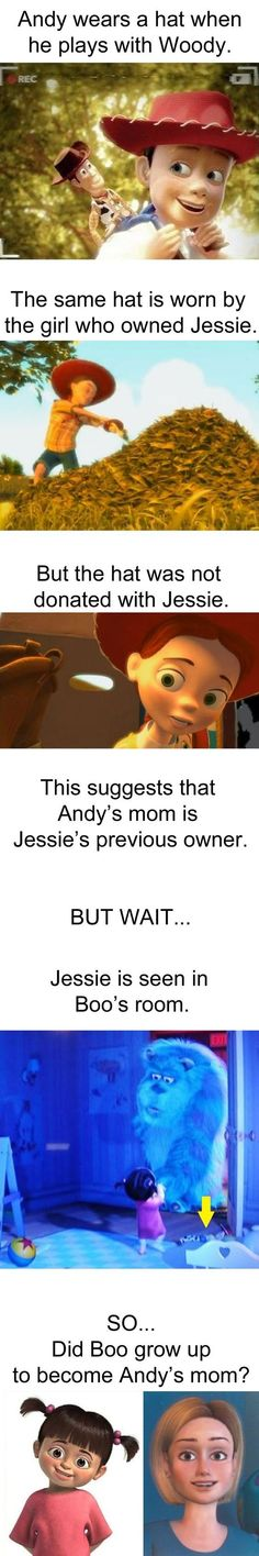 grow up to become Andy's mom in Toy Story? I love the Pixar and Disney Theories Disney Pixar, Kida Disney, Disney Jokes, Funny Disney Memes, Disney Facts, Disney Fun, Disney And Dreamworks, Funny Memes, Punk Disney