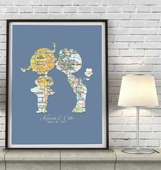 Custom Wedding Kids in Love Maps - Couples- Engagement -Anniversary gift…