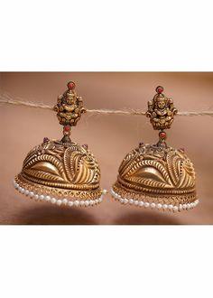 Silver golden goddess Laxmi jhumka - Earrings - Product Type