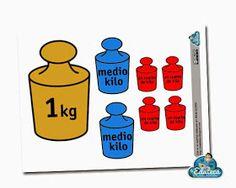 La Eduteca: RECURSOS PRIMARIA | Imprimible de pesas para explicar los kilos y los medios kilos