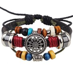 Chic Hipsters Multilayer Floral Bead Pulseira de couro PU - PRETO