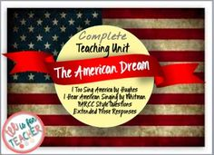 "This product focuses on the theme of ""The American Dream."" It includes the following:~The full poem from Langston Hughes- ""I Too Sing America""~ The full poem from Walt Whitman- ""I Hear America Singing""~ Annotation Strategies on the poem~PARCC Aligned/ Common Core Aligned Questions for ""I Too Sing America~PARCC Aligned/ Common Core Aligned Questions for ""I Hear America Singing""~Two Writing Promptsf you like this product, you would LOVE these products in my store:Figurative Language Handouts Grade"