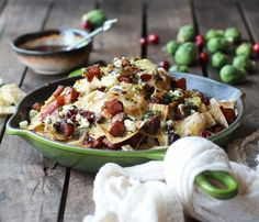 Cranberry, Butternut, And Brussels Sprouts Brie Skillet Nachos --- 18 Brussels Sprouts Recipes For Fall That Will Change The Way You Think Of This Vegetable | Bustle