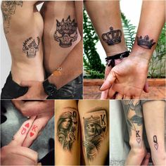 Best Couple Tattoos - Best Couple Tattoos Ideas with photos. Couple Tattoo Ideas – King and Queen Tattoo - Trendy Tattoos, Popular Tattoos, Tattoos For Guys, Tattoos For Women, Small Tattoos, Him And Her Tattoos, Model Tattoos, Body Art Tattoos, Sleeve Tattoos