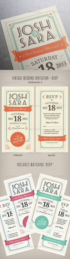 Wedding Invitation & RSVP by PhilEvans Vintage wedding invitation and RSVP in 3 colour combinations. Size: 210mm wide x 99mm highBleed Area: 3mmColor: CMYK Fonts used
