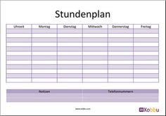 Stundenplan Vorlage  http://www.xobbu.com/stundenplan/  #schule #stundenplan #printable #printables #ausdruck #vorlage #kind #kinder #organisation #planung