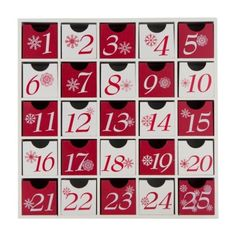 Wooden Christmas Advent Calendar By Home Living Red & White Box Drawers You Fill in Home, Furniture & DIY | eBay