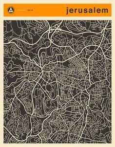 Poster | JERUSALEM MAP von Jazzberry Blue | more posters at http://moreposter.de