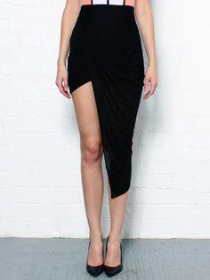 Slack Jersey Asymmetrical Black Skirt....hot