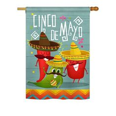 Breeze Decor - Chili Pepper Cinco de Mayo Country & Primitive - Everyday Southwest Impressions Decorative Vertical House Flag x Printed In USA Evergreen Flags, National Holidays, House Flags, American Traditional, Flag Design, Country Primitive, Garden Flags, Material Design, Brown And Grey