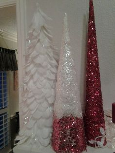 Feather and glitter tree's.