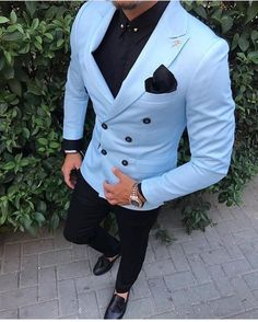 Tailored Slim Fit 2 Piece Light Blue Suit Men Tuxedo double breasted Groom Blazer mens Wedding Suits Terno Masculino Jacket+Pant Check out new pins on this board Light Blue Suit, Blue Suit Men, Blue Suits, Slim Fit Tuxedo, Tuxedo For Men, Prom Suits For Men, Men Wedding Suits, Men Wedding Dress, Suit For Men