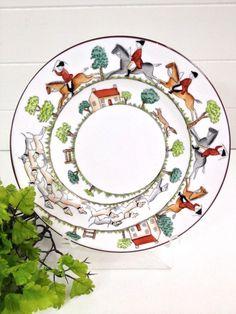 Crown Staffordshire Hunting Scene Cake Plate 12748 Vintage England Dinnerware