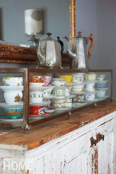 Gorgeous display of fancy tea cups