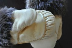 Inuit made women's mitts w/ fur trim by Ana May