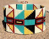 Tribal Chichen Itza Bead Loom Bracelet Bohemian Boho Artisanal Jewelry Indian Western Beaded Southwestern Turquoise Brown Santa Fe