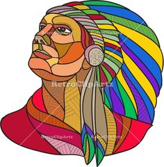 Native American Indian Chief Headdress Drawing Vector Stock Illustration. Drawing sketch style illustration of a native american indian chief warrior with headdress looking to the side set on isolated white background. #Drawingillustration #NativeAmericanIndianChief