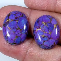 26.60Cts. NATURAL PURPLE COPPER TURQUOISE OVAL CAB MATCHED PAIR LOOSE GEMSTONE