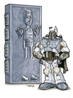 Woody in Carbonite with Buzz Fett by James Silvani