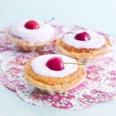 Cherry bakewell tarts recipe prima.co.uk Cherry Recipes, Tart Recipes, Ice Cream Recipes, Baking Recipes, Snack Recipes, Dessert Recipes, Pastry Recipes, Baking Ideas, Yummy Recipes