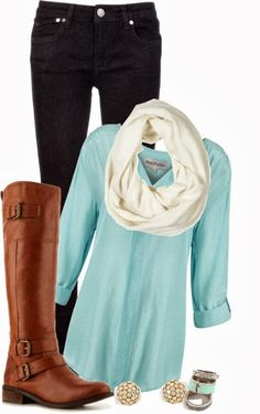 Girls fall fashion 2014 inspiration:Black jeans, white scarf, blue shirt, long neck boots, ear tops and ear rings