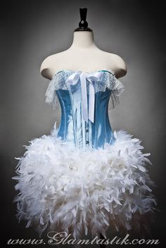 Custom Size Baby Blue and White Burlesque Feather by Glamtastik, $275.00