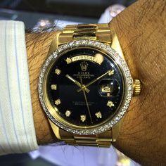 Rolex 1803 Gold President Black Dial Mens Watch