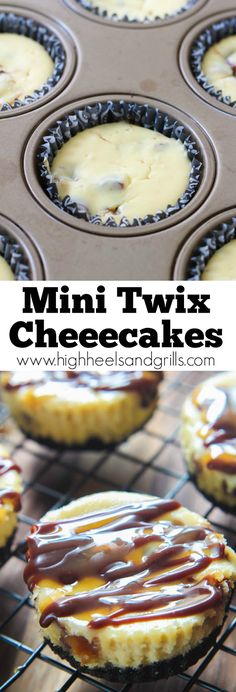 Mini Twix Cheesecakes. I made these for my husband and his co-workers and they said it was the best cheesecake they're ever had. It's such an easy dessert to make! http://www.highheelsandgrills.com/2015/03/mini-twix-cheesecakes.html