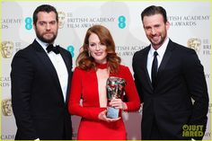 Chris Evans & Henry Cavill with Julianne Moore at 2015 EE British Academy Film Awards held at The Royal Opera House on Sunday (February 8) in London, England.