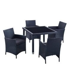 Modern Outdoor All Weather Wicker Rattan Table Patio Dining Set.
