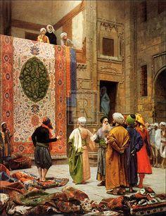 Carpet Market in Old Cairo - Arabic Art - Handmade Oil Painting On Canvas Oil Painting On Canvas, Canvas Art, Art Arabe, Art Gallery, Arabian Art, Islamic Paintings, Art Antique, Turkish Art, Turkish Rugs